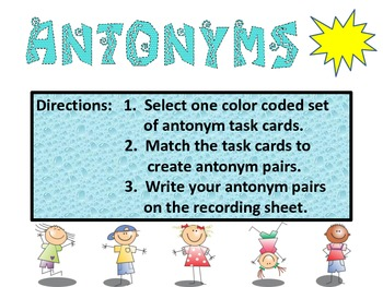 Antonym Task Cards!!  They are great for reading and writing. Green Set