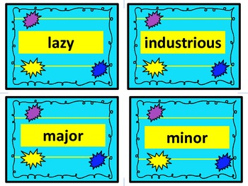 Antonym Task Cards!  They are great for reading and writing! Aqua Blue Set.