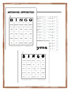 Antonyms Vocabulary 2 Full Printable Bingo Games with Instructions