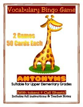 Antonyms Vocabulary 2 Full Printable Bingo Games with Inst