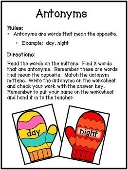 Antonym Literacy Center - Winter Mitten Theme