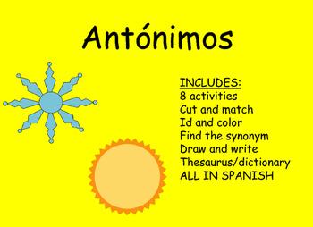 Antonyms activities/actividades con antonimos