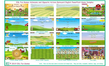 Antonyms and Opposite Actions Barnyard English PowerPoint Game