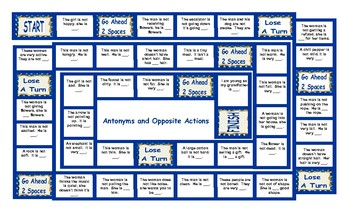 Antonyms and Opposite Actions Legal Size Text Board Game