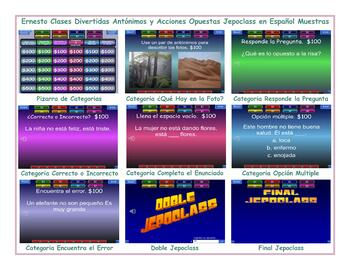 Antonyms and Opposite Actions Spanish Jeopardy Game