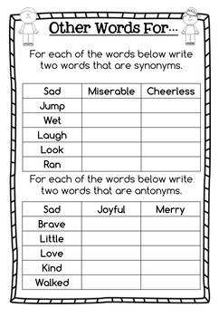 Antonyms and Synonyms Activity Pack