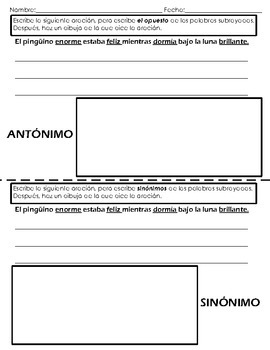 Antonyms and Synonyms (ENGLISH and SPANISH)