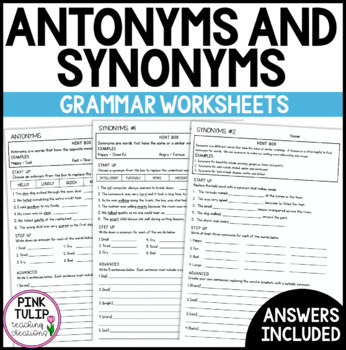 Antonyms and Synonyms - Grammar Worksheets with Answers