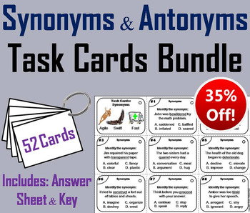 Antonyms and Synonyms Task Cards 4th 5th 6th Grade