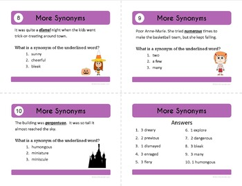 Antonyms and Synonyms Task Cards - Middle School