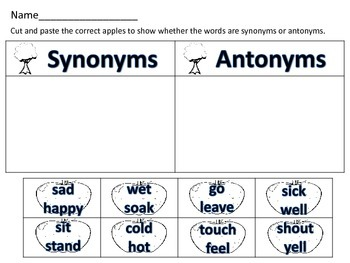 Antonyms and Synonyms Word Sort with Apples Word Work Daily 5 Literacy Activity
