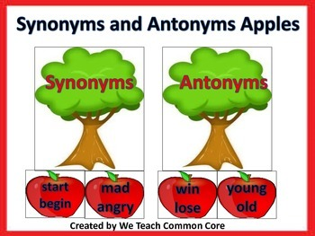Antonyms and Synonyms Word Sort with Apples Word Work Dail