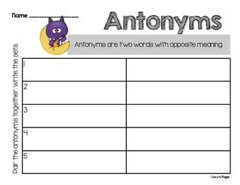 ELA - Antonyms for Halloween - FREEBIE