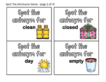 Antonyms for Preschool