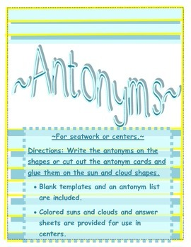 Antonyms for Seat Work or Centers