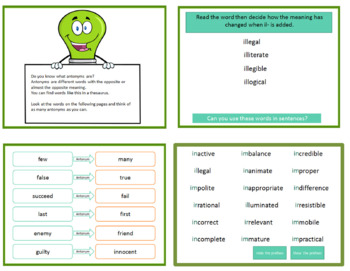 Antonyms for fourth grade - Powerpoint lesson, posters and activities