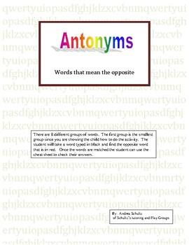 Antonyms groups  1-8 (minimum of 10 pairs of words per group)