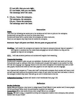 Antonyms lesson plan