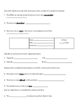 Antonyms of Adjectives Lesson Worksheets