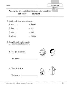 Antonyms: sad/happy, lost/found