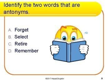 Antonyms Task Cards - 50 Multiple Choice Cards - Grades 4 - 6