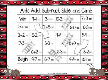 Ants Add, Subtract, Slide, and Climb:  NO PREP Computation Game
