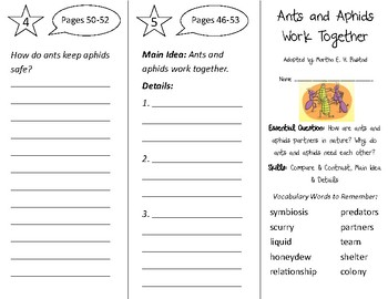 Ants & Aphids Work Together Trifold - Open Court 2nd Grade Unit 1 Lesson 2