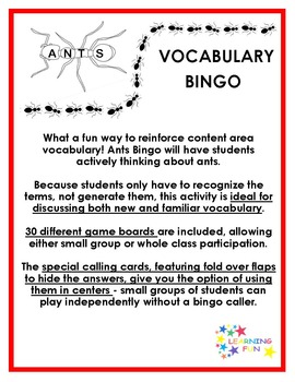 Ants Vocabulary Bingo