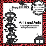 NO PREP Ants Themed Composing Numbers Roll and Cover Game