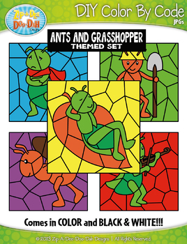 Ants and the Grasshopper Color By Code Clipart {Zip-A-Dee-Doo-Dah Designs}