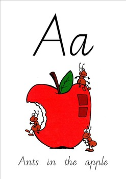 Ants in the Apple- alphabet posters or flashcards Vic Modern Cursive