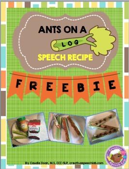 Distance Learning - Ants on a Log Speech Recipe Freebie