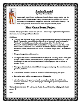 Anubis Speaks! Journal and Game Board Project
