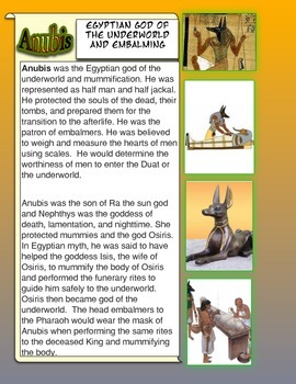 Anubis the Egyptian God of the Underworld Common Core Scie
