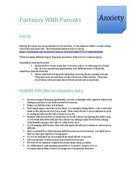 Anxiety Parent Tip Sheet-Resources and Strategies for Parents