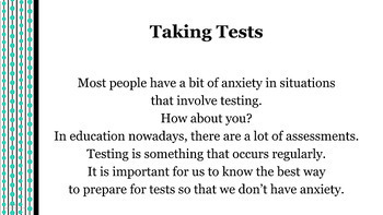 Anxiety Stress Reduction Powerpoint w 3 video links- Assessment Test Preparation