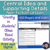 Anxiety in Students Determining Central Idea & Supporting Details Activity