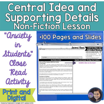 Anxiety in Students Determining Central Idea & Supporting
