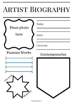 Any Artist Biography Notebooking Sheet