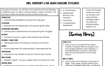 Any Grade Reading Syllabus (Editable)