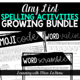Any List Spelling Word Work Activities Worksheets Growing Bundle