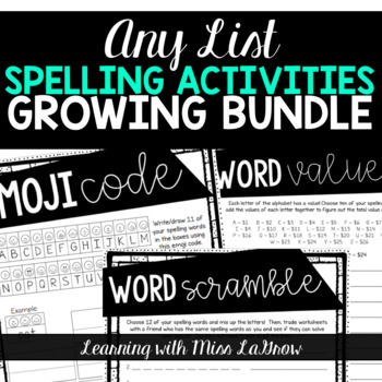Any List Spelling Word Work Activities Worksheets Growing Bundle