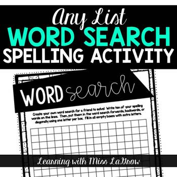 Any List Word Search Creator Spelling Word Work Activity Worksheet