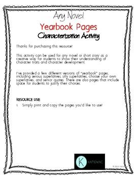 Any Novel Characterization Yearbook Activity