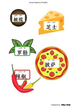 Any Shape Chinese Learning Flashcards for Pizza