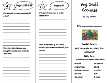Any Small Goodness Trifold - Journeys 6th Grade Unit 3 Wee