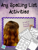 Any Spelling List Activities