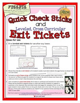 Free Exit Tickets Leveled for Any Subject and Quick Check Assessment Sticks