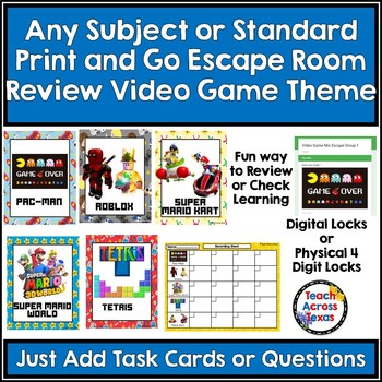 Any Subject or Standard Print & Go Escape Room Review Video Game Themed
