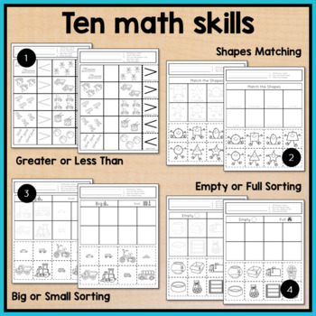 Any Time Cut and Paste Math Worksheets for Special Education and Autism